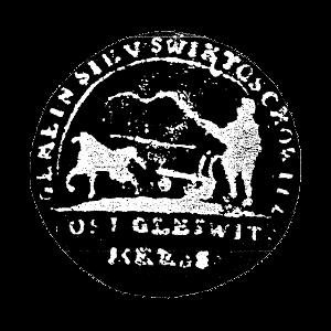 Świętoszowice, pieczęć: Rolnik z biczem w ręce kierujący w prawą stronę pług zaprzężony w konia.